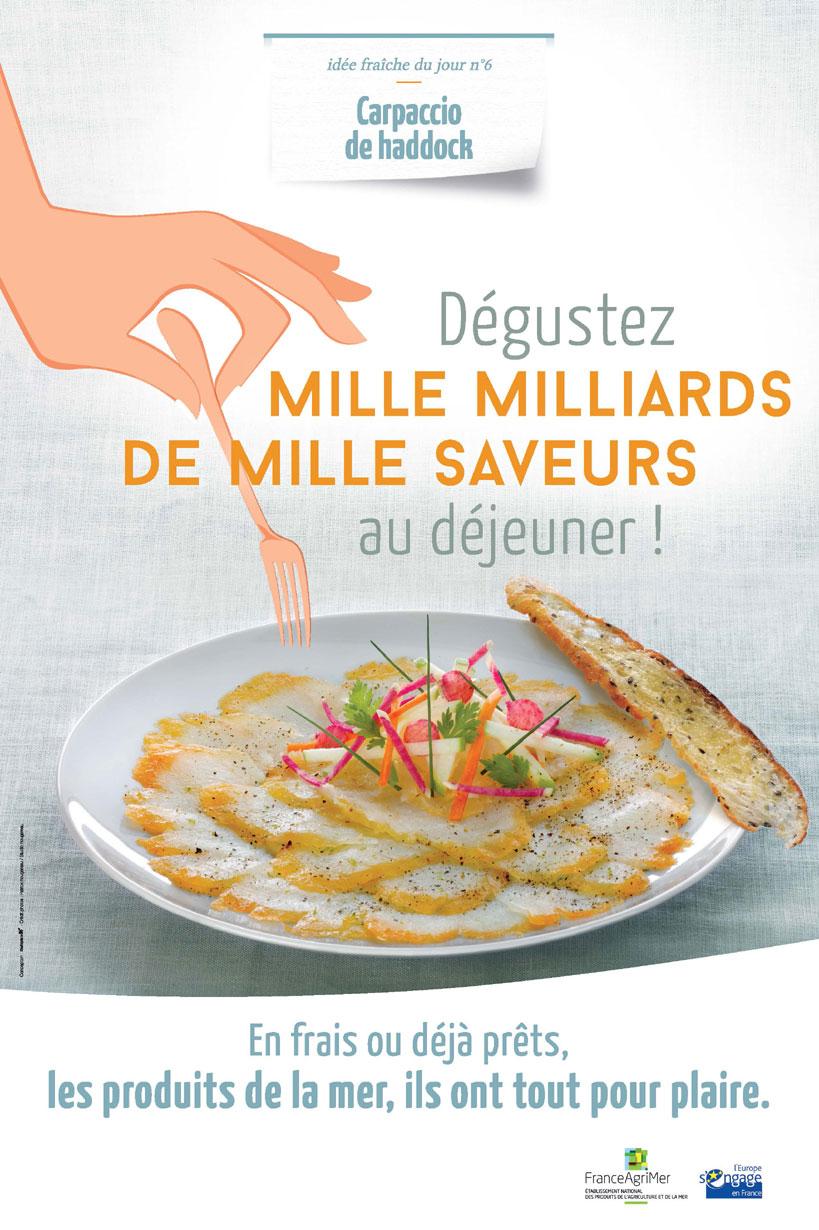 Affiche FranceAgriMer dégustez mille milliards de mille saveurs au déjeuner !